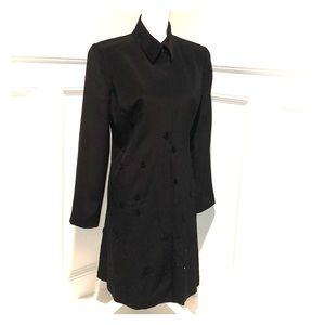 Cache Black Long Silk Jacket Size 8